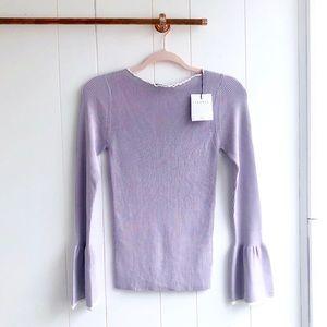 NWT Sandro Purple Ribbed Bell Sleeve Sweater